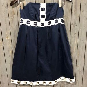 Lilly Pulitzer Navy Strapless Dress White Trim